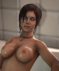 4 pictures of Lara Croft loves showing her stunning Big Tits in Tomb Raider erotic 3D art