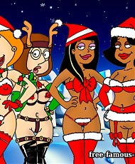 5 pictures of Famous cartoon heroes on hardcore Xmas New Years party