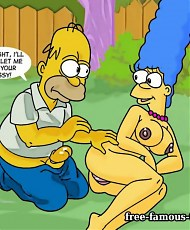 5 pictures of Lusty housewife Marge Simpson in riding on big Homers dick