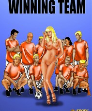 6 pictures of Lucky blonde comics bitch getting fucked by the winning team in the loacker room