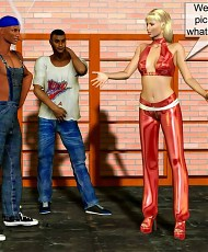 5 pictures of Lusty blonde girl seduced two black guys for gangbang in garage