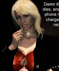 5 pictures of Blonde girl with big tits is playing virtual sex game with green aliens